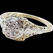 Filigree and Flower Art Deco 14k Two-Tone Diamond Engagement Ring