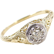 Filigree Art Deco 14k Two-Tone .26 Carat Diamond Engagement Ring