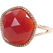 14k Rose Gold Carnelian and Diamond Halo Ring