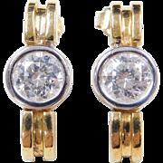 Vintage 18k Gold 1.60 ctw Faux Diamond Earrings