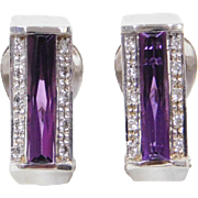 Vintage 18k White Gold 2.20 ctw Amethyst and Diamond Earrings
