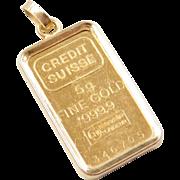 Vintage 18k and Fine Gold Credit Suisse Bar Charm