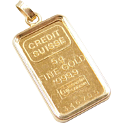 Vintage 18k and Fine Gold Credit Suisse Bar Charm