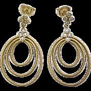 Vintage 18k Gold Diamond Oval Dangle Earrings