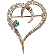 Vintage 18k Gold 1.09 ctw Diamond and Emerald Heart Pin / Brooch
