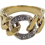 Vintage 18k Gold Two-Tone Diamond Link Ring