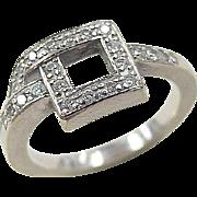 Vintage 18k White Gold Modernist Diamond Ring