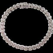 "Vintage 18k White Gold 2.00 ctw Diamond Tennis Bracelet ~ 6 1/4"""
