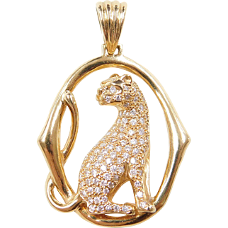 Vintage 18k Gold Diamond Wild Cat Pendant