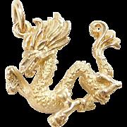 Vintage 18k Gold Dragon Charm