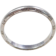 Vintage 18k White Gold Etched Band Ring