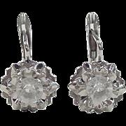 Vintage 18k White Gold Faux Diamond Earrings