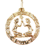 Vintage 18k Gold Gemini Charm / Pendant