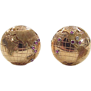 Vintage 18k Gold Gents Ruby and Diamond GLOBE Cufflinks