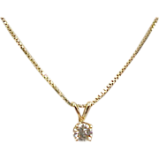 Vintage Diamond Solitaire 18k Gold Necklace .30 Carat