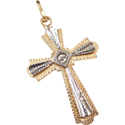 Vintage 18k Gold Two-Tone Faux Diamond Cross Pendant