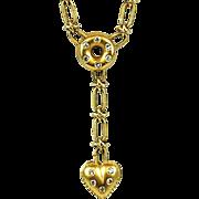 Vintage 18k Gold Diamond Heart Drop Necklace