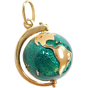 Vintage 18k Gold Green Enamel Spinning Globe Charm