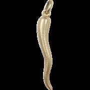 Vintage 18k Gold Italian Horn Charm / Pendant