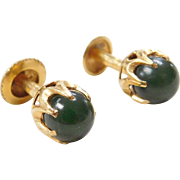 Edwardian 18k Gold Jade Stud Earrings