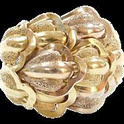 Vintage 18k Gold Big Two-Tone Leaf Ring