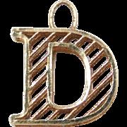 Vintage 18k Gold Letter D Charm