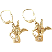 Vintage 18k Gold Pitcher Earrings