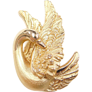 Vintage 18k Gold Swan Pin / Brooch
