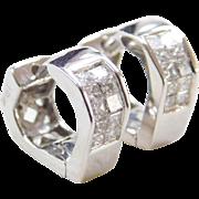 Vintage 18k White Gold  Small .26 ctw Diamond Huggie Hoop Earrings