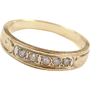 Vintage 18k Gold Two-Tone .12 ctw Diamond Wedding Band Ring
