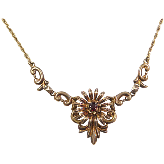 "1940's Symmetalic W.E Richards Sterling Silver and 14k Gold Garnet Necklace ~ 16"""