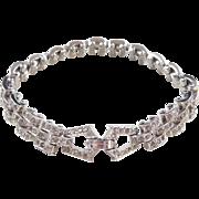 "1930's Sterling Silver Rhinestone Bracelet ~ 7 1/4"""
