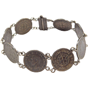 "Sterling Silver 1939-1942 Coin Bracelet ~ 6 7/8"""