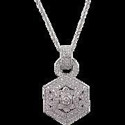 Vintage 14k White Gold 1.0 ctw Diamond Necklace