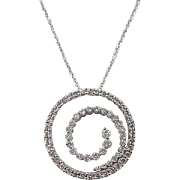 Vintage 10k & 14k 1.0 ctw Diamond Journey Circle Necklace