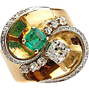 Vintage 14k Gold 1.00 ctw Natural Emerald and Diamond Ring