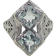 Art Deco 10k White Gold 1.00 ctw Aquamarine Ring