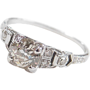 Art Deco 18k White Gold 1.02 ctw Diamond Engagement Ring