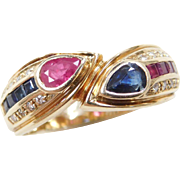 Vintage 14k Gold 1.04 ctw Ruby, Sapphire and Diamond Ring