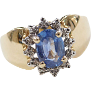 Vintage 14k Gold Two-Tone 1.05 ctw Sapphire and Diamond Ring