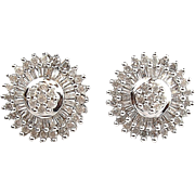 Vintage 10k White Gold 1.10 ctw Diamond Stud Earrings