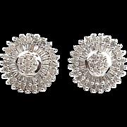 Vintage 10k White Gold 1.10 ctw Diamond Stud Earrings
