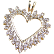 Vintage 14k Gold 1.10 ctw Two-Tone Diamond Heart Pendant