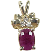 Vintage 14k Gold 1.11 ctw Ruby and Diamond Pendant
