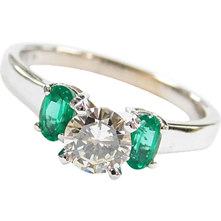 1.13 ctw Natural Emerald and Diamond Engagement Ring 14k White Gold