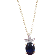 """Vintage 14k Gold 1.13 ctw Natural Sapphire and Diamond Necklace ~ 18"""""""