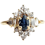 Vintage 14k Gold Natural Sapphire and Diamond Ring