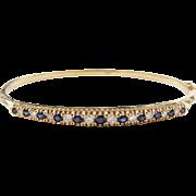"Vintage 18k Gold 1.15 ctw Sapphire and Diamond Bangle Bracelet 6 5/8"""
