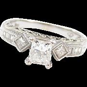 1.19 ctw Princess Cut Diamond Engagement Ring 14k White Gold