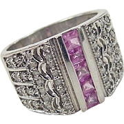 Vintage 14k White Gold 1.10 ctw Pink Sapphire and Diamond Ring